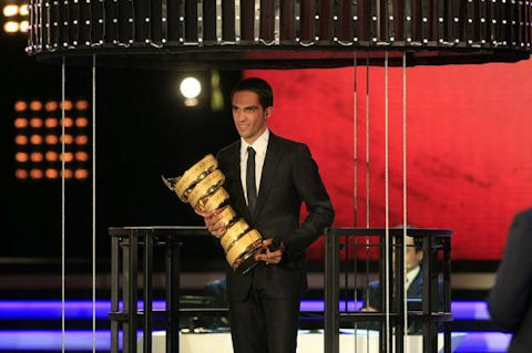 Alberto Contador at the presentation of the 2012 route
